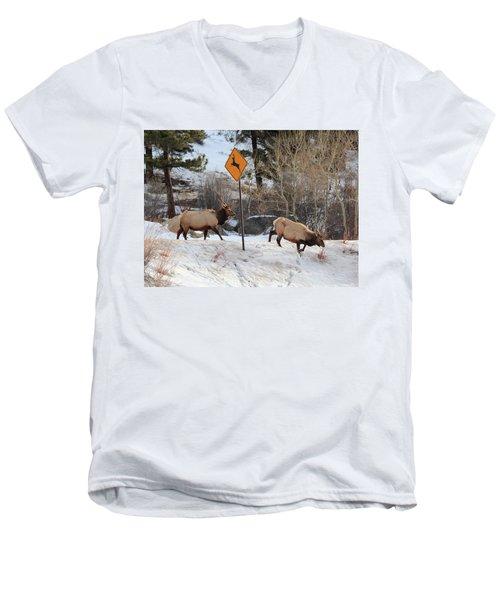 Oops Wrong Crossing Men's V-Neck T-Shirt
