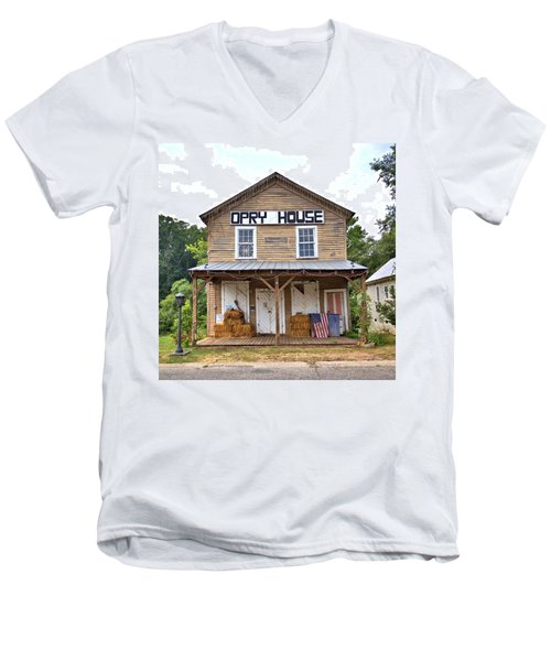 Men's V-Neck T-Shirt featuring the photograph Opry House - Square by Gordon Elwell