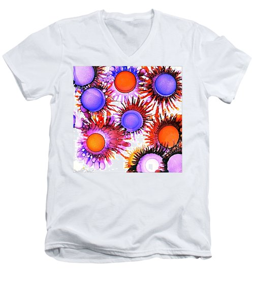 Orange And Purple Alcohol Inks Abstract Men's V-Neck T-Shirt