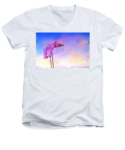 Orchid In Blue Men's V-Neck T-Shirt