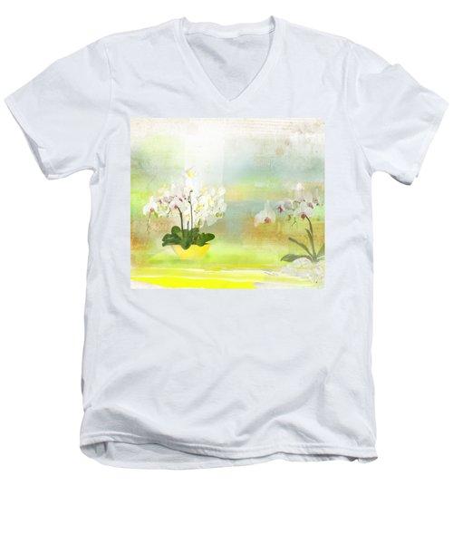 Orchids - Limited Edition 1 Of 10 Men's V-Neck T-Shirt by Gabriela Delgado