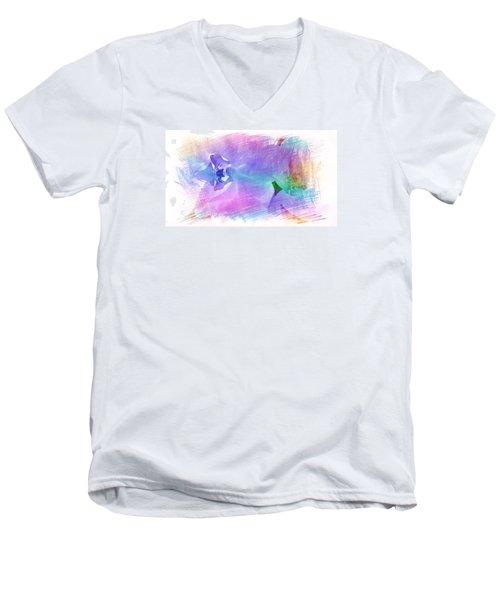 Petals In Violet Blue Men's V-Neck T-Shirt