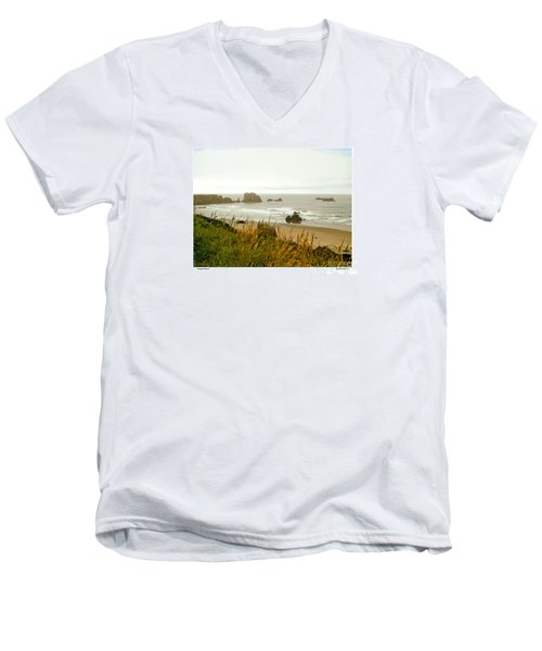 Men's V-Neck T-Shirt featuring the digital art Oregon Beach by Kenneth De Tore