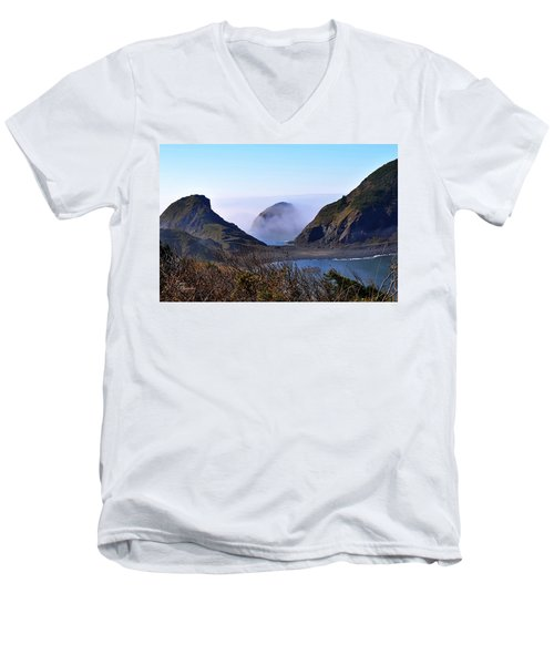 Oregon Coast In Fog Men's V-Neck T-Shirt