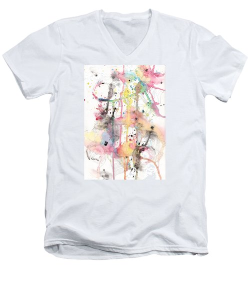 Men's V-Neck T-Shirt featuring the painting Organic Clash by Rebecca Davis