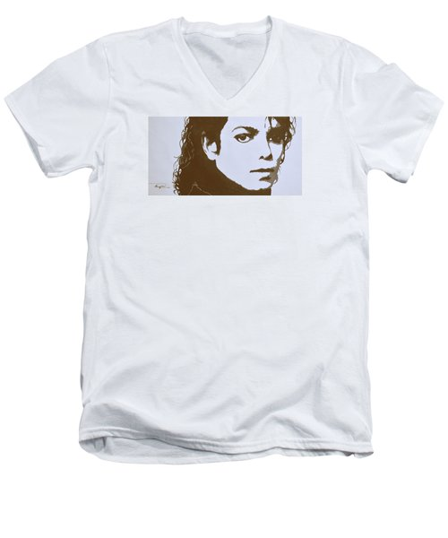 original black an white acrylic paint art- portrait of Michael Jackson#16-2-4-12 Men's V-Neck T-Shirt by Hongtao     Huang