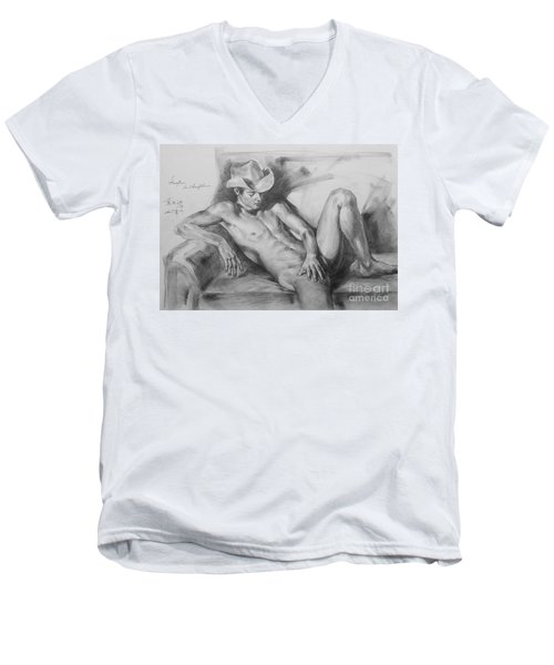 Original Drawing Sketch Charcoal Chalk Male Nude Gay Man On Sofa Art Pencil On Paper By Hongtao Men's V-Neck T-Shirt