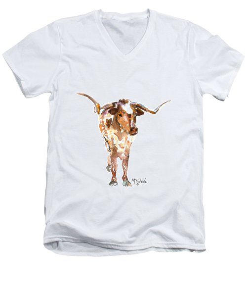 Original Longhorn Standing Earth Quack Watercolor Painting By Kmcelwaine Men's V-Neck T-Shirt by Kathleen McElwaine