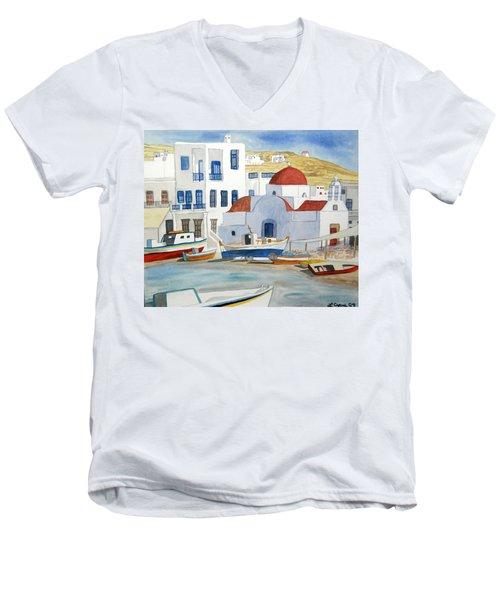 Watercolor - Mykonos Greece Detail Men's V-Neck T-Shirt