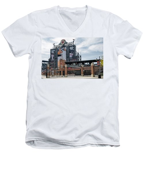 Oriole Park At Camden Yards Men's V-Neck T-Shirt by Susan Candelario
