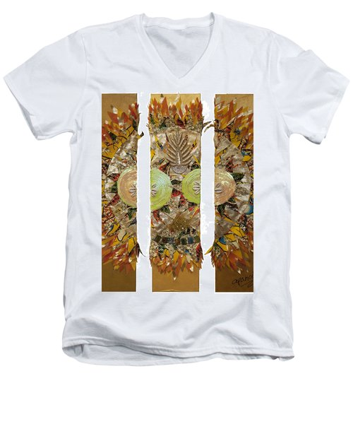 Men's V-Neck T-Shirt featuring the tapestry - textile Osun Sun by Apanaki Temitayo M