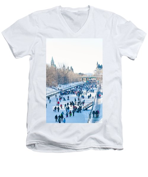 Ottawa Rideau Canal Men's V-Neck T-Shirt by Cheryl Baxter