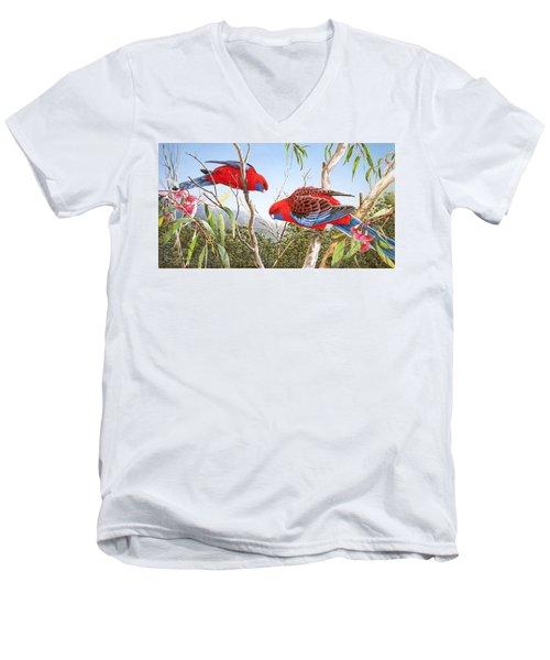 Our Beautiful Home - Crimson Rosellas Men's V-Neck T-Shirt