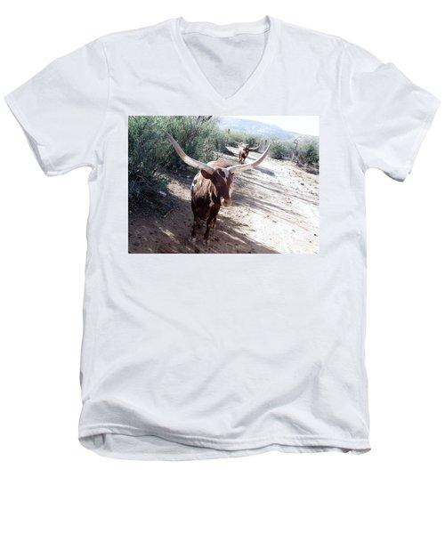 Out Of Africa  Long Horns Men's V-Neck T-Shirt