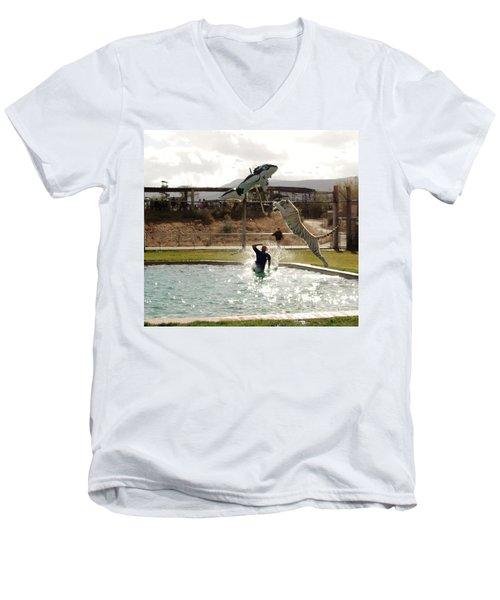 Out Of Africa  Tiger Splash 6 Men's V-Neck T-Shirt