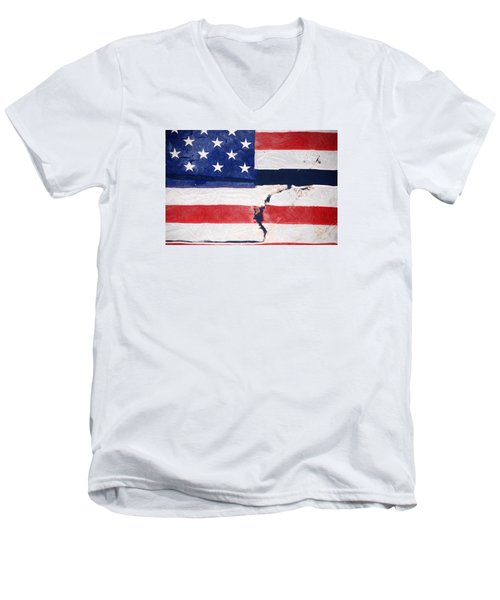 Men's V-Neck T-Shirt featuring the photograph Out Of The Rubble  September 11 2001 by John Schneider