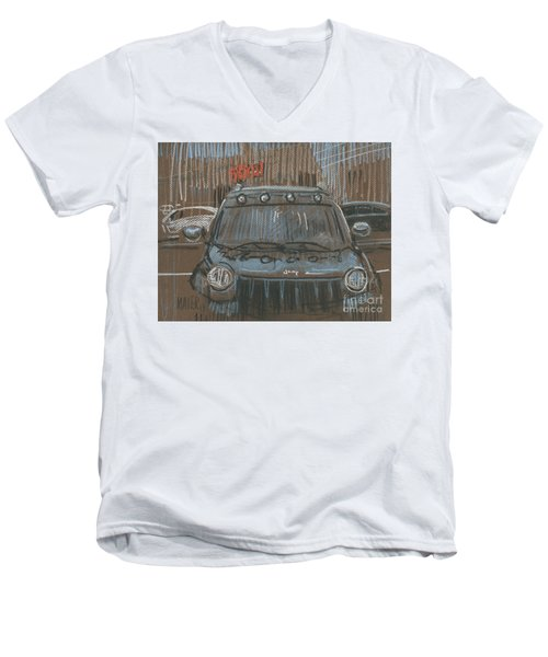 Men's V-Neck T-Shirt featuring the painting Outside Biglots by Donald Maier