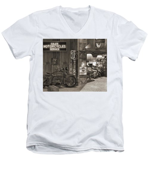 Outside The Old Motorcycle Shop - Spia Men's V-Neck T-Shirt