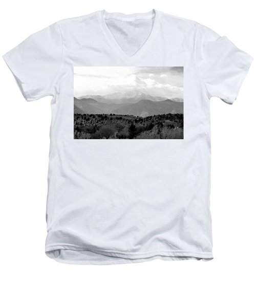 Over The Hills To Pikes Peak Men's V-Neck T-Shirt by Clarice  Lakota