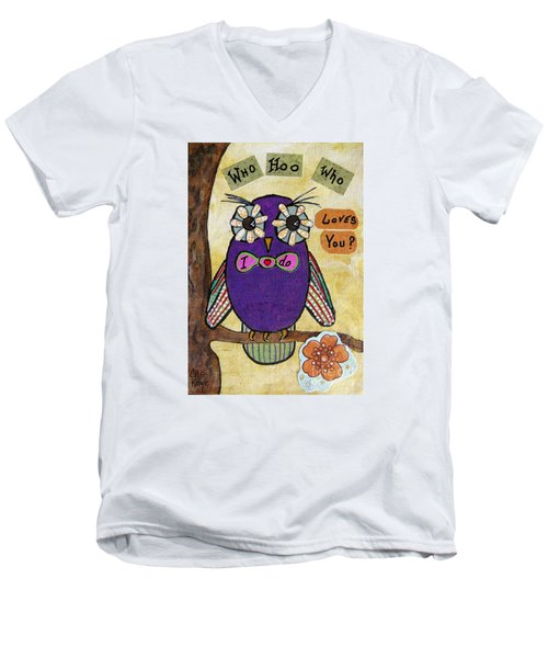 Owl Love Story - Whimsical Collage Men's V-Neck T-Shirt by Ella Kaye Dickey