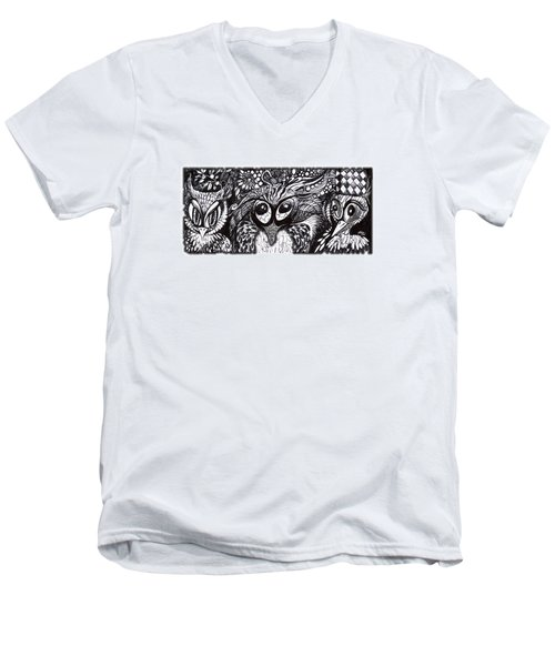 Men's V-Neck T-Shirt featuring the drawing Owls Eyes by Adria Trail