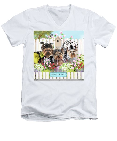 Owned By Yorkies II Men's V-Neck T-Shirt