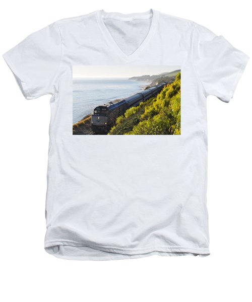 Pacific Surfliner Along The Central Coast Men's V-Neck T-Shirt