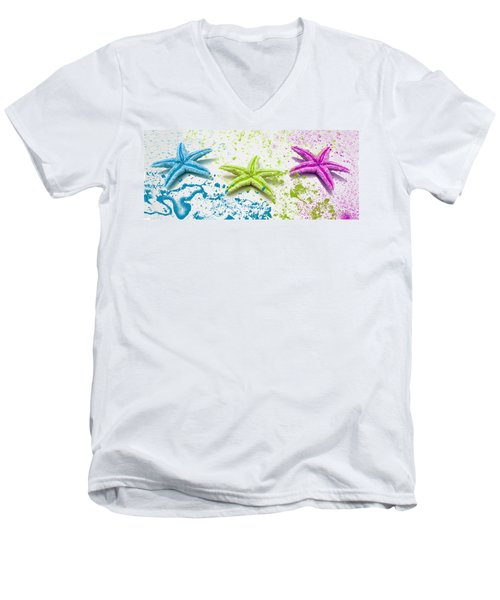 Paint Spattered Star Fish Men's V-Neck T-Shirt