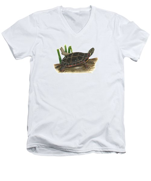 Painted Turtle Men's V-Neck T-Shirt by Cindy Hitchcock