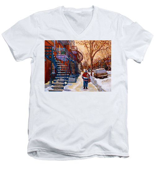 Paintings Of Montreal Beautiful Staircases In Winter Walking Home After The Game By Carole Spandau Men's V-Neck T-Shirt