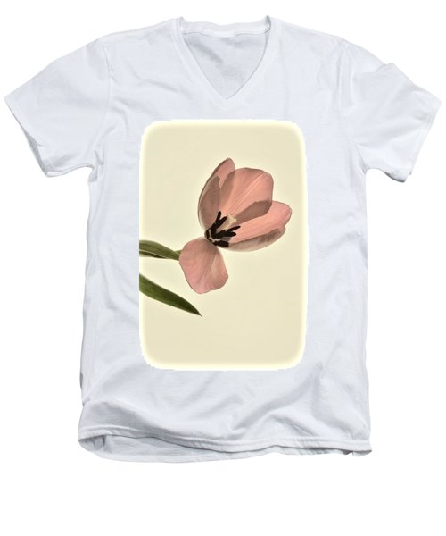 Pale Pink Tulip Men's V-Neck T-Shirt