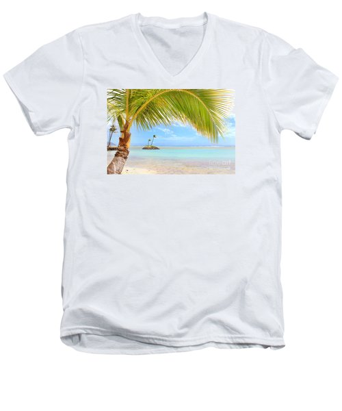 Men's V-Neck T-Shirt featuring the photograph Palm Tree by Kristine Merc