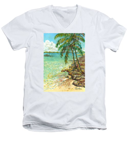 Men's V-Neck T-Shirt featuring the painting Palms On Point Of Rocks by Lou Ann Bagnall