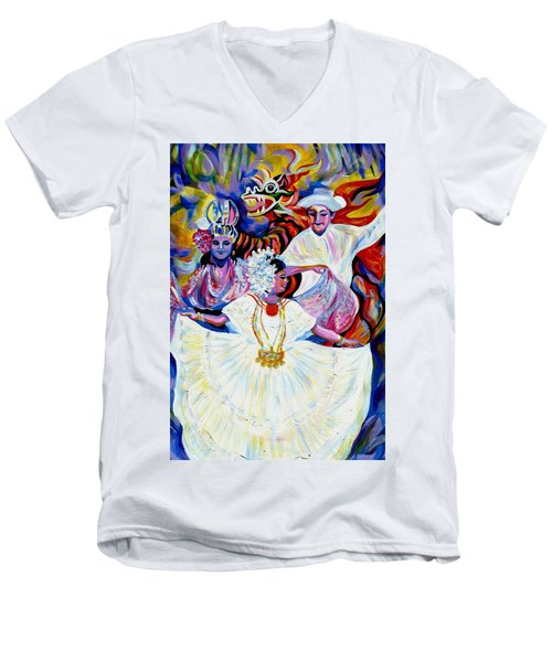 Men's V-Neck T-Shirt featuring the painting Panama Carnival. Fiesta by Anna  Duyunova