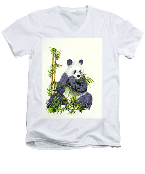 Men's V-Neck T-Shirt featuring the drawing Panda  by Terri Mills