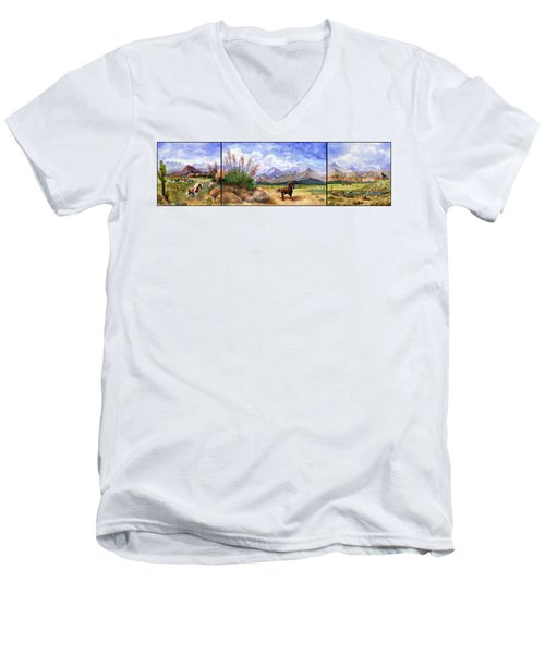 Panorama Triptych Don't Fence Me In  Men's V-Neck T-Shirt by Marilyn Smith