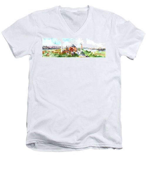 Men's V-Neck T-Shirt featuring the painting Panoramic Hagia Sophia In Istanbul by Faruk Koksal
