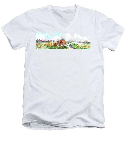 Panoramic Hagia Sophia In Istanbul Men's V-Neck T-Shirt by Faruk Koksal