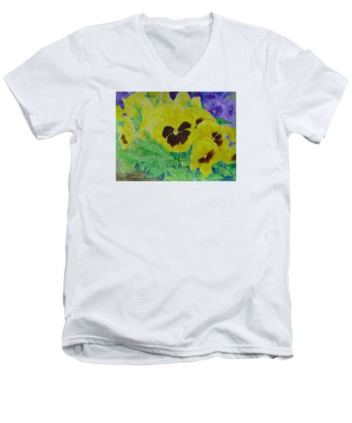 Pansies Colorful Flowers Floral Garden Art Painting Bright Yellow Pansy Original  Men's V-Neck T-Shirt by Elizabeth Sawyer