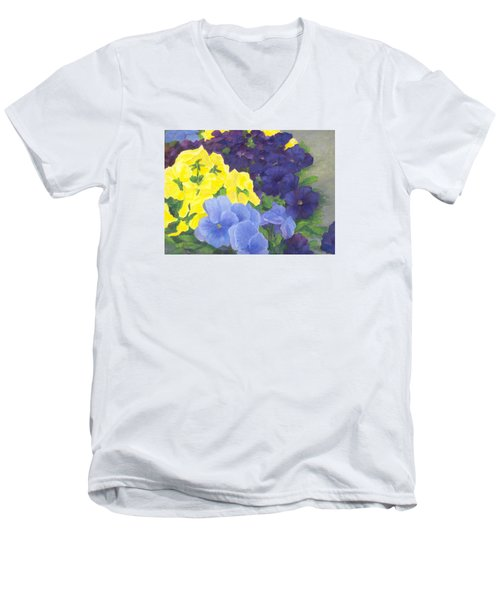 Pansy Garden Bright Colorful Flowers Painting Pansies Floral Art Artist K. Joann Russell Men's V-Neck T-Shirt by Elizabeth Sawyer