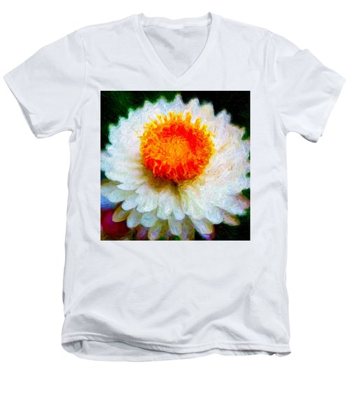 Paper Daisy Men's V-Neck T-Shirt by Chuck Mountain