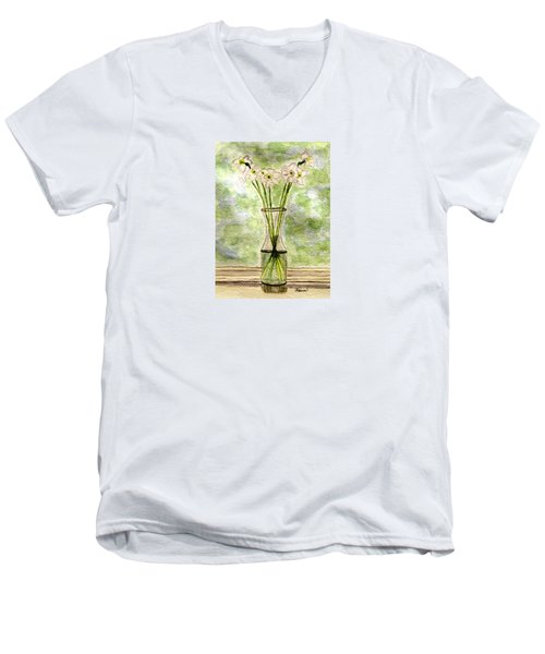 Men's V-Neck T-Shirt featuring the painting Paper Whites In Sunlight by Angela Davies