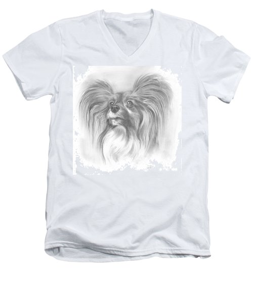 Men's V-Neck T-Shirt featuring the drawing Papillon by Paul Davenport