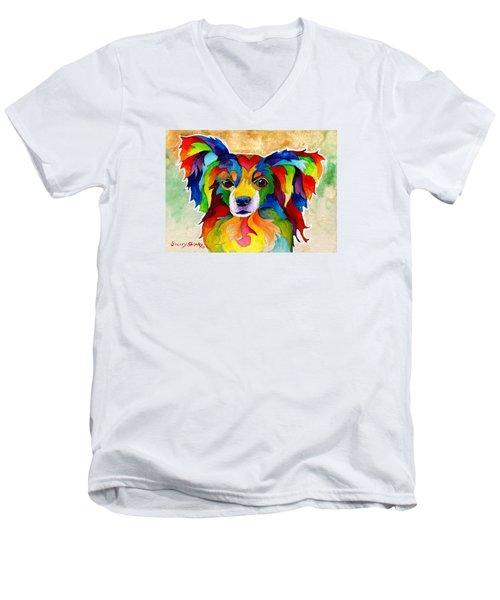 Papillon Men's V-Neck T-Shirt by Sherry Shipley