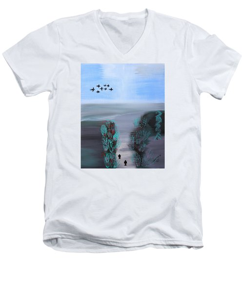 Men's V-Neck T-Shirt featuring the painting Paradise by Lorna Maza