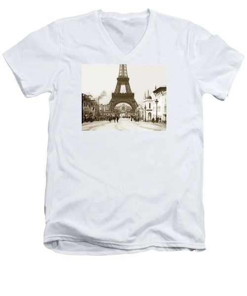 Paris Exposition Eiffel Tower Paris France 1900  Historical Photos Men's V-Neck T-Shirt