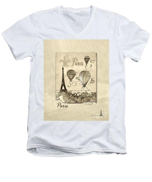 Paris In Sepia Men's V-Neck T-Shirt