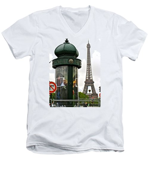 Men's V-Neck T-Shirt featuring the photograph Paris by Ira Shander