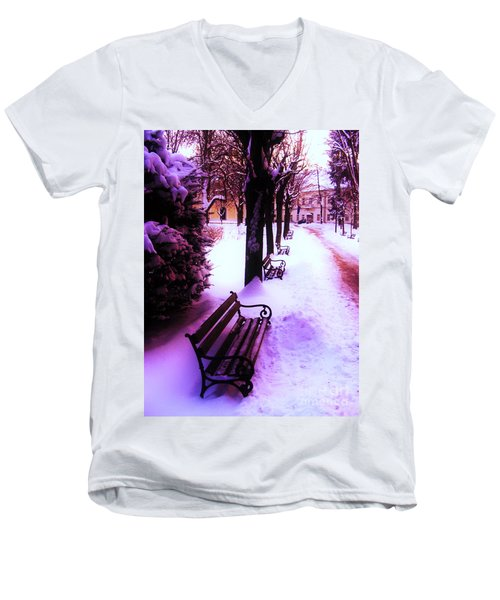 Men's V-Neck T-Shirt featuring the photograph Park Benches In Snow by Nina Ficur Feenan