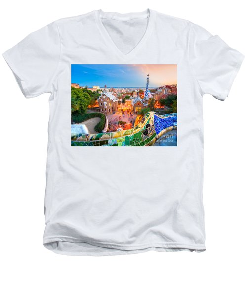 Park Guell In Barcelona - Spain Men's V-Neck T-Shirt by Luciano Mortula